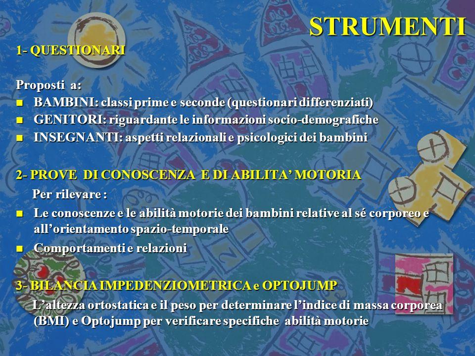 STRUMENTI 1- QUESTIONARI Proposti a: