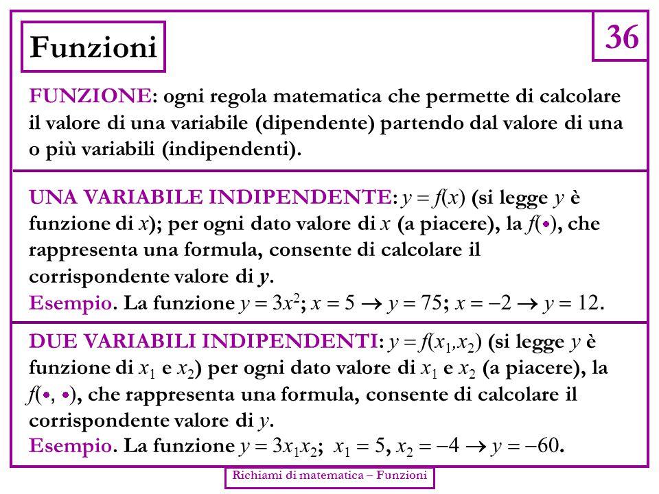 Richiami di matematica – Funzioni