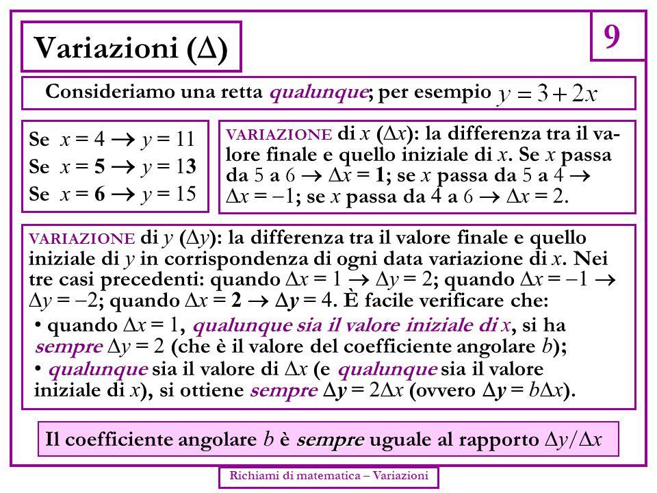 Richiami di matematica – Variazioni