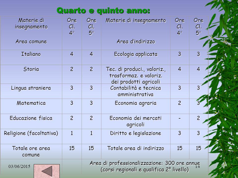 Quarto e quinto anno: Materie di insegnamento Area comune Ore Cl. 4°