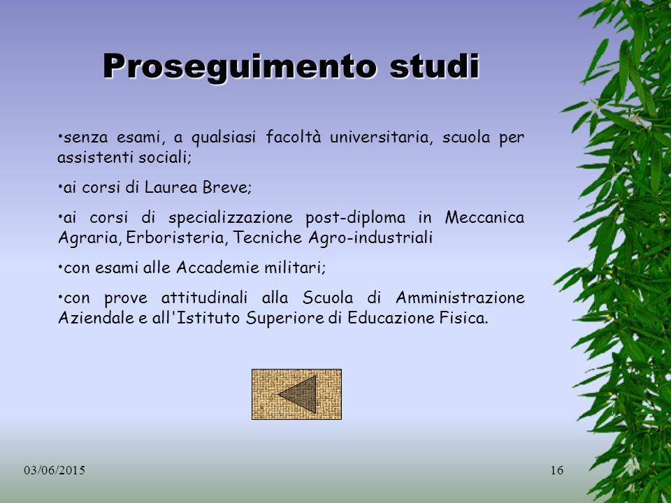 Proseguimento studi senza esami, a qualsiasi facoltà universitaria, scuola per assistenti sociali; ai corsi di Laurea Breve;