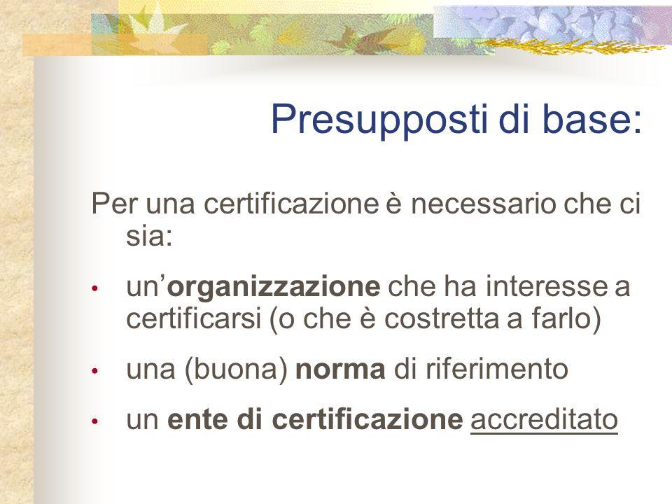 Presupposti di base: Per una certificazione è necessario che ci sia:
