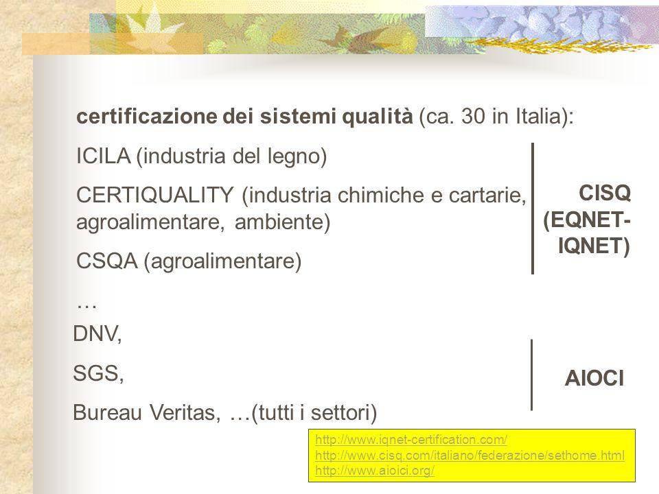 certificazione dei sistemi qualità (ca. 30 in Italia):