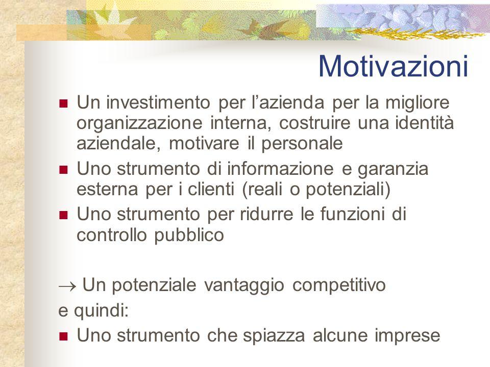 Motivazioni Un investimento per l'azienda per la migliore organizzazione interna, costruire una identità aziendale, motivare il personale.