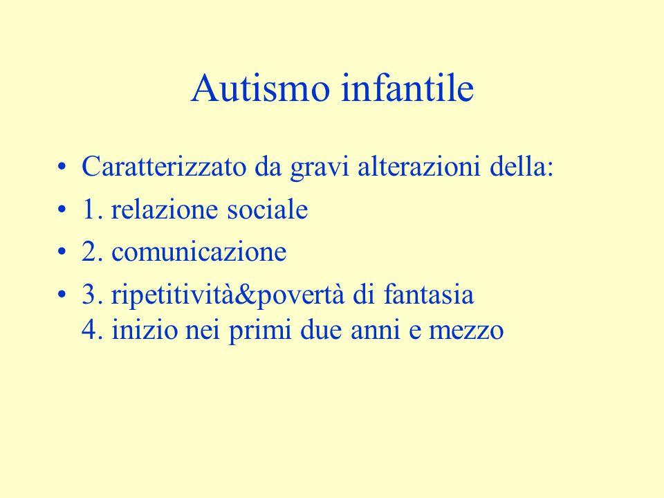Autismo infantile Caratterizzato da gravi alterazioni della: