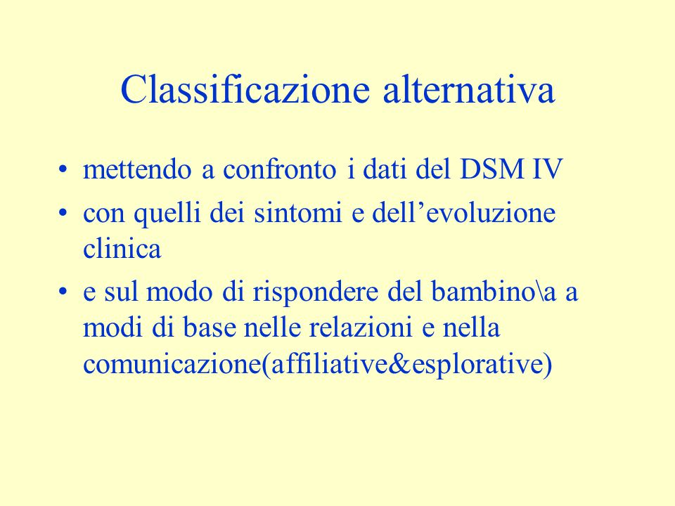 Classificazione alternativa