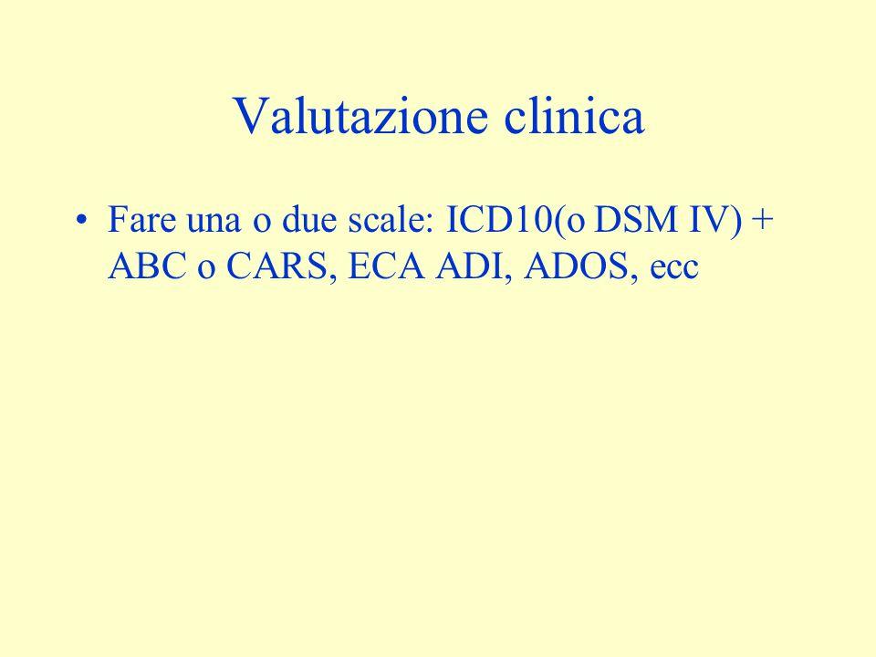 Valutazione clinica Fare una o due scale: ICD10(o DSM IV) + ABC o CARS, ECA ADI, ADOS, ecc