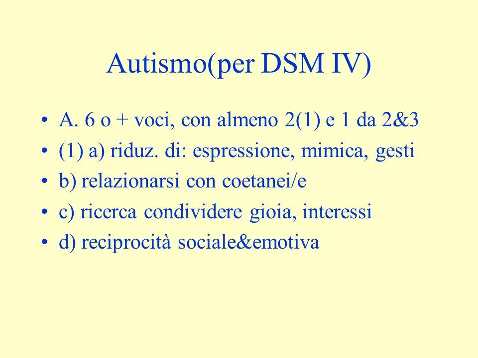 Autismo(per DSM IV) A. 6 o + voci, con almeno 2(1) e 1 da 2&3