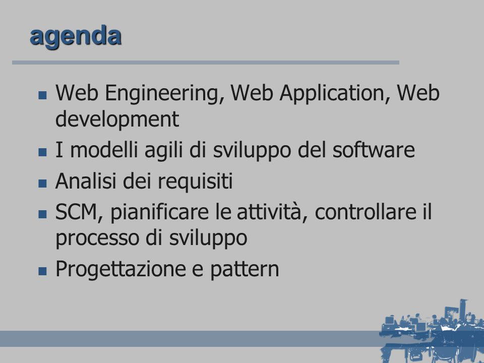 agenda Web Engineering, Web Application, Web development