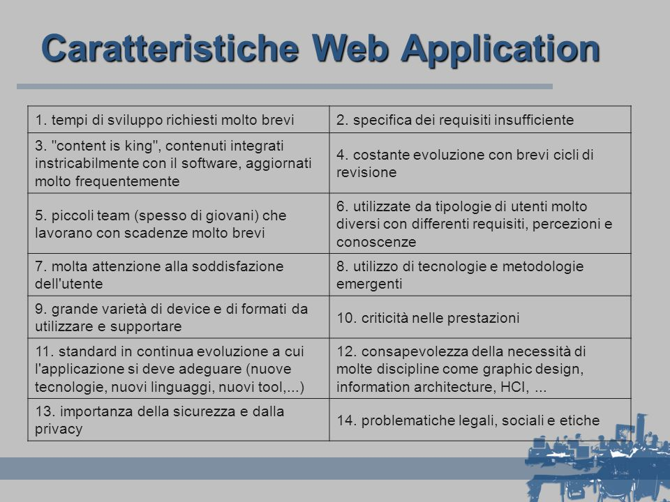 Caratteristiche Web Application