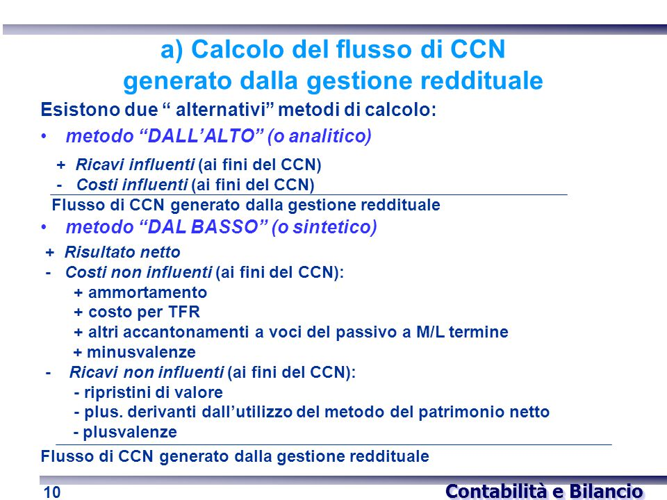 a) Calcolo del flusso di CCN generato dalla gestione reddituale