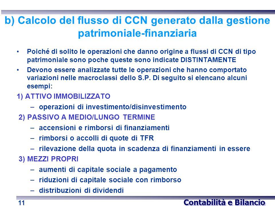 b) Calcolo del flusso di CCN generato dalla gestione patrimoniale-finanziaria
