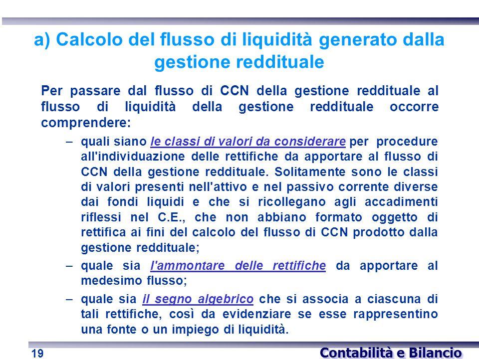 a) Calcolo del flusso di liquidità generato dalla gestione reddituale