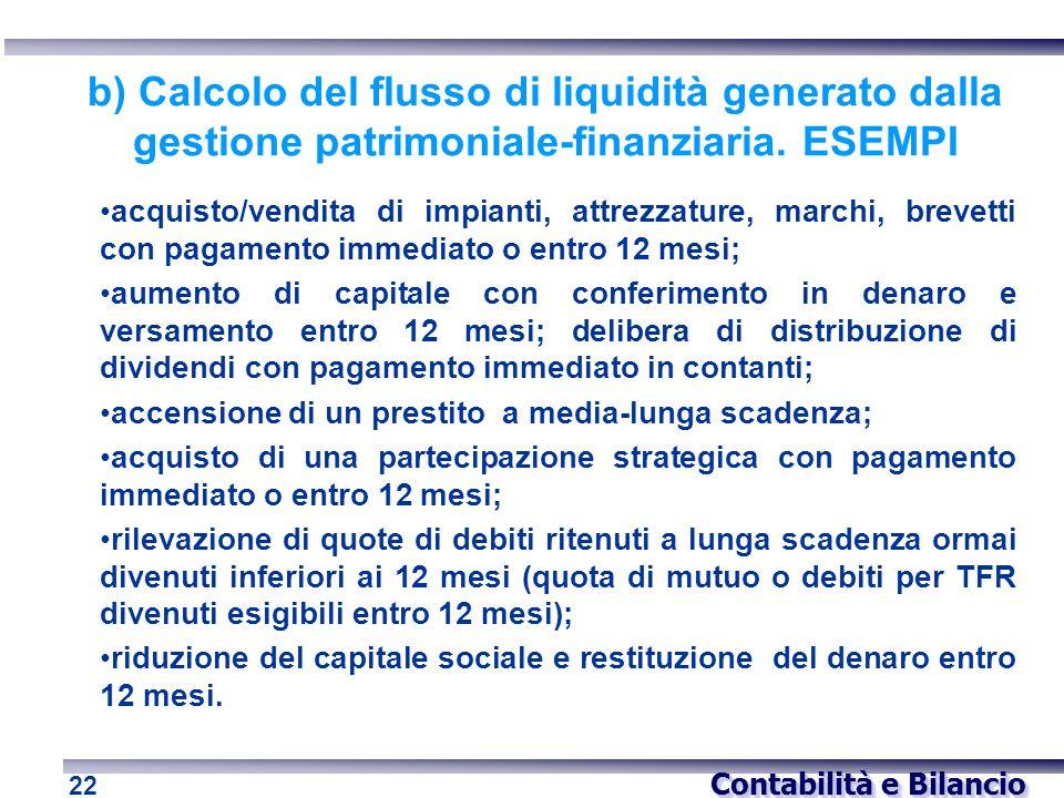b) Calcolo del flusso di liquidità generato dalla gestione patrimoniale-finanziaria. ESEMPI