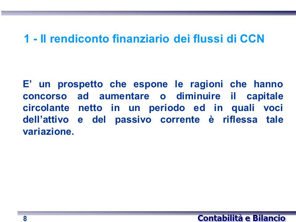 1 - Il rendiconto finanziario dei flussi di CCN