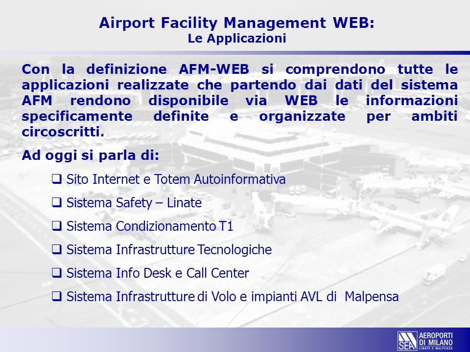 Airport Facility Management WEB: Le Applicazioni