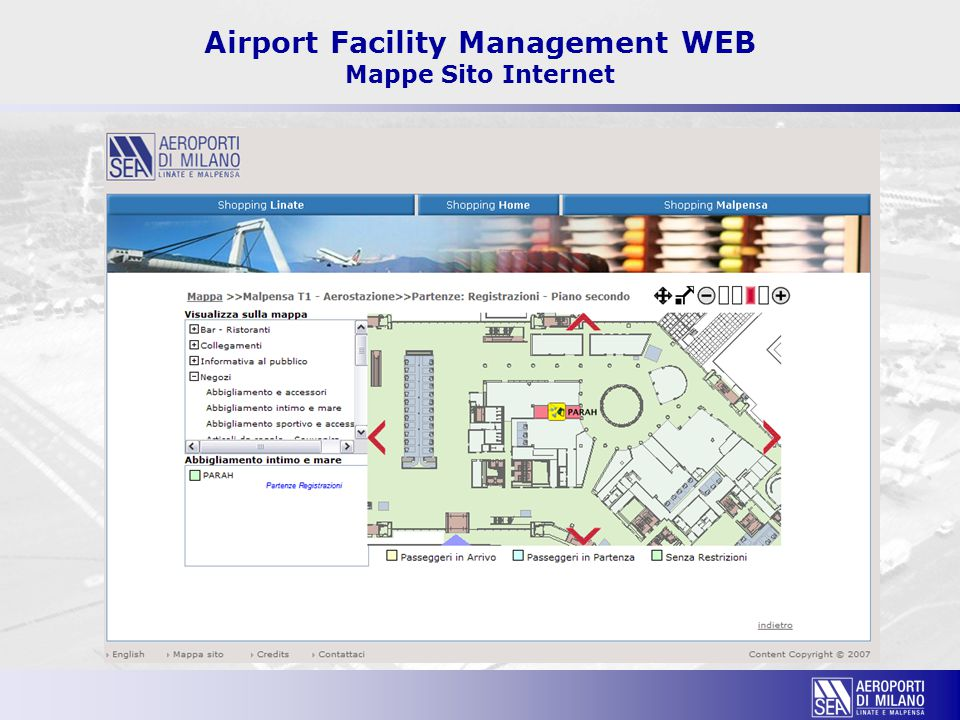 Airport Facility Management WEB Mappe Sito Internet