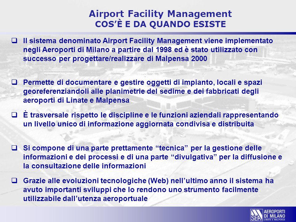 Airport Facility Management COS'È E DA QUANDO ESISTE