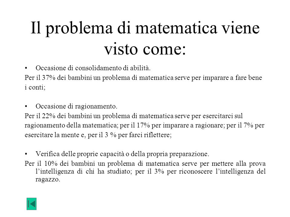 Il problema di matematica viene visto come:
