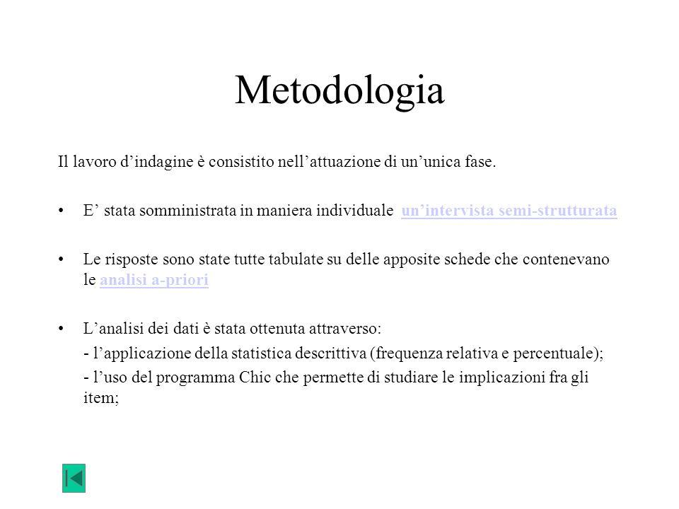 Metodologia Il lavoro d'indagine è consistito nell'attuazione di un'unica fase.