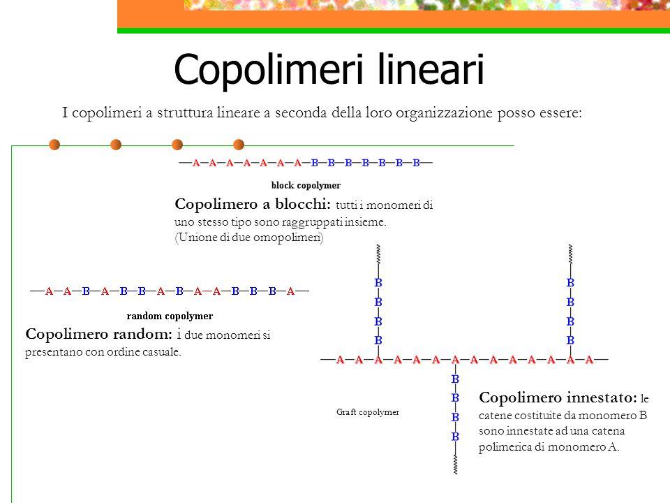 Copolimeri lineari I copolimeri a struttura lineare a seconda della loro organizzazione posso essere: