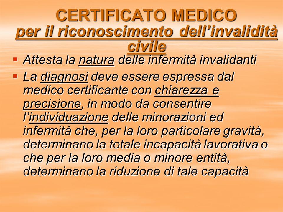 CERTIFICATO MEDICO per il riconoscimento dell'invalidità civile