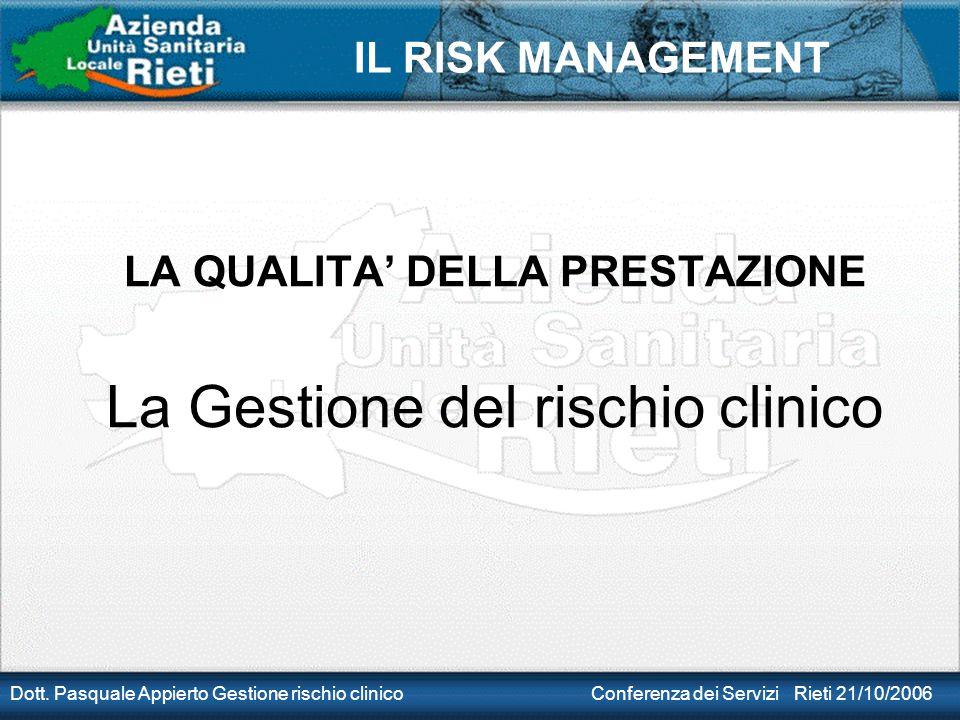 LA QUALITA' DELLA PRESTAZIONE La Gestione del rischio clinico