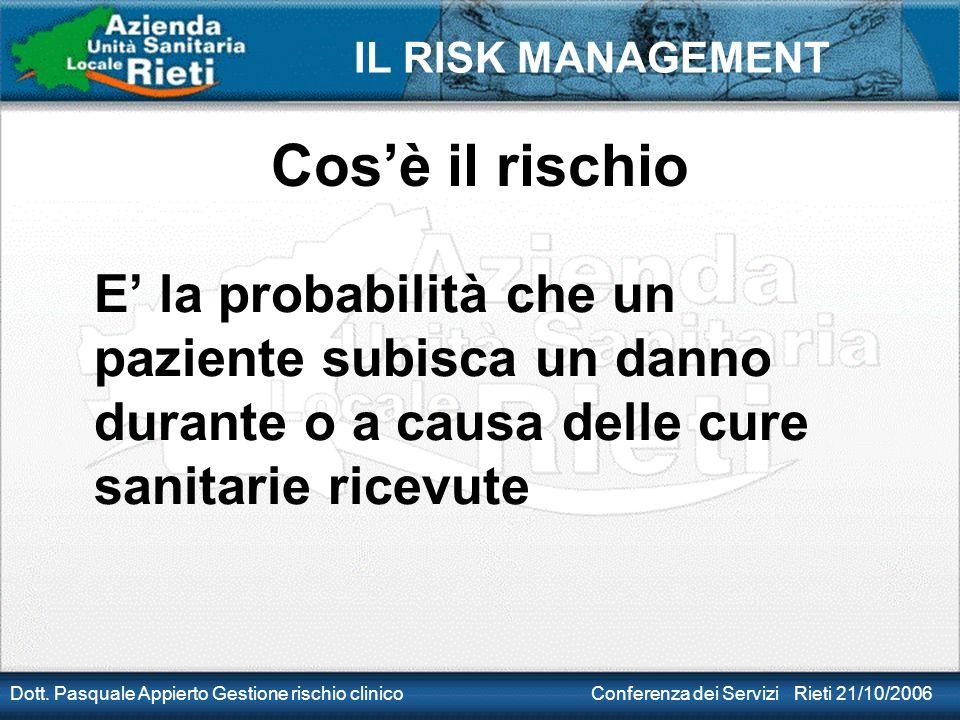 Cos'è il rischio E' la probabilità che un paziente subisca un danno durante o a causa delle cure sanitarie ricevute.