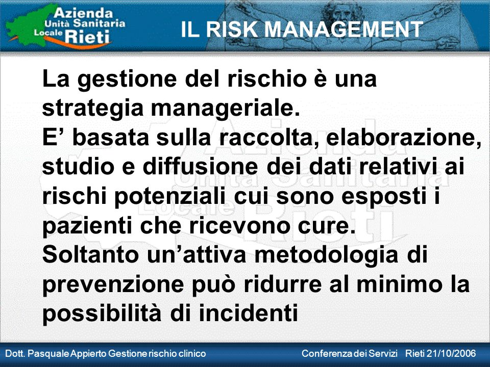 La gestione del rischio è una strategia manageriale