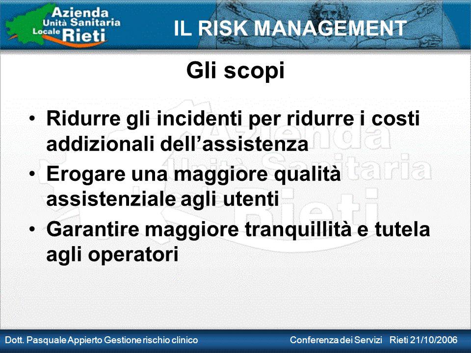 Gli scopi Ridurre gli incidenti per ridurre i costi addizionali dell'assistenza. Erogare una maggiore qualità assistenziale agli utenti.