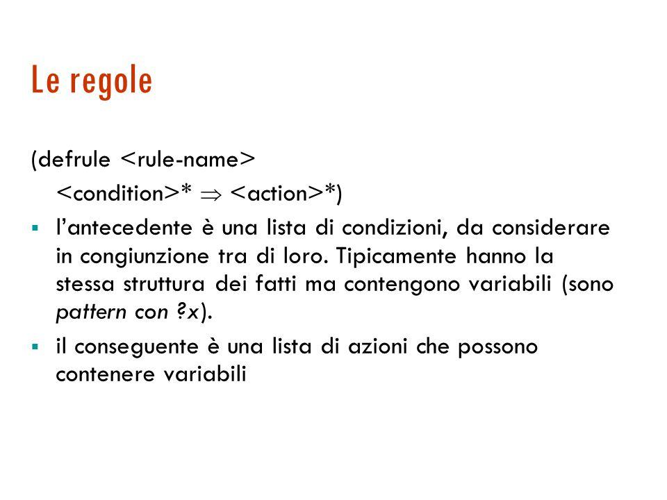 Le regole (defrule <rule-name>