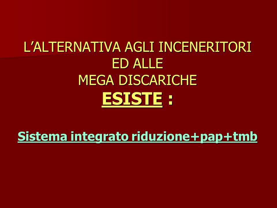 L'ALTERNATIVA AGLI INCENERITORI ED ALLE MEGA DISCARICHE ESISTE : Sistema integrato riduzione+pap+tmb