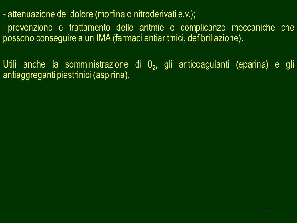 - attenuazione del dolore (morfina o nitroderivati e.v.);