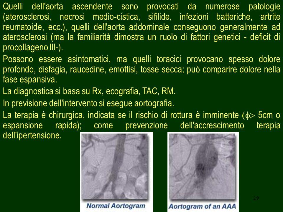 Quelli dell aorta ascendente sono provocati da numerose patologie (aterosclerosi, necrosi medio-cistica, sifilide, infezioni batteriche, artrite reumatoide, ecc.), quelli dell aorta addominale conseguono generalmente ad aterosclerosi (ma la familiarità dimostra un ruolo di fattori genetici - deficit di procollageno III-).