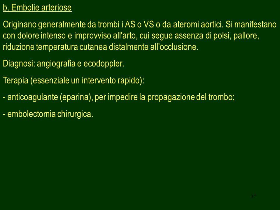 b. Embolie arteriose
