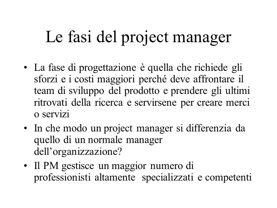 Le fasi del project manager