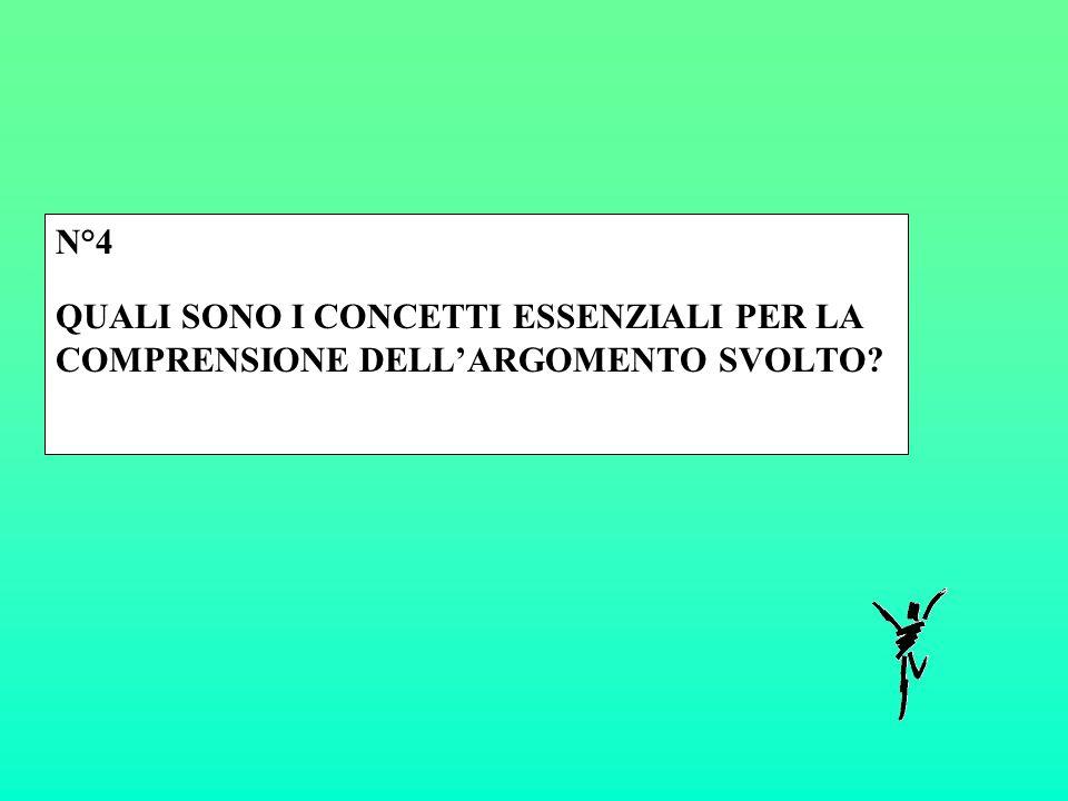 N°4 QUALI SONO I CONCETTI ESSENZIALI PER LA COMPRENSIONE DELL'ARGOMENTO SVOLTO