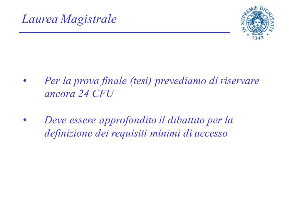 Laurea Magistrale Per la prova finale (tesi) prevediamo di riservare ancora 24 CFU.