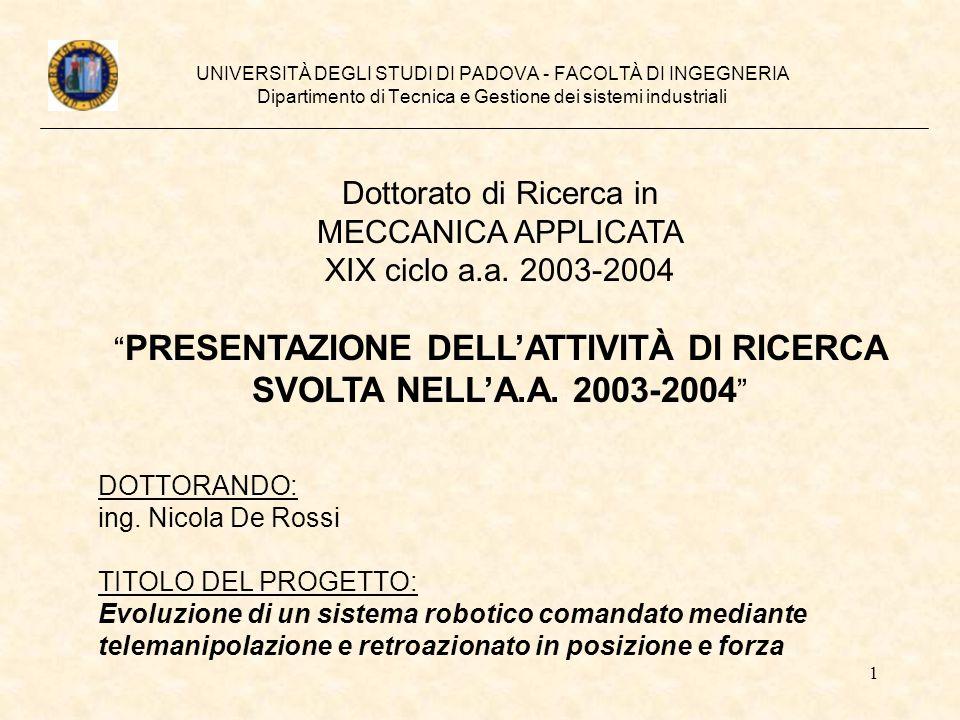 SVOLTA NELL'A.A. 2003-2004 Dottorato di Ricerca in