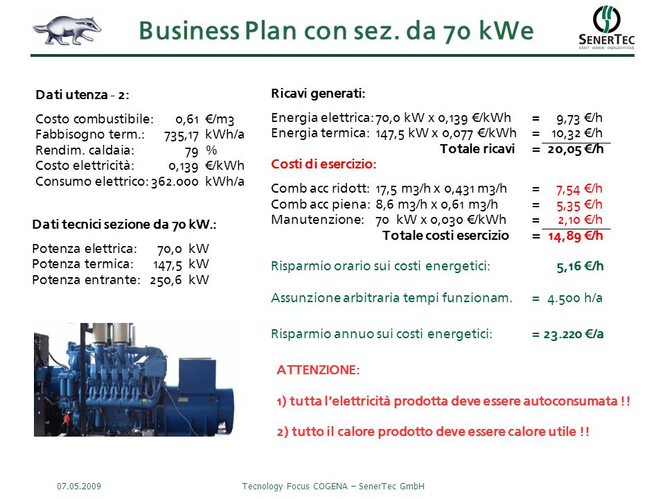 Business Plan con sez. da 70 kWe