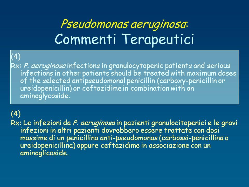 Pseudomonas aeruginosa: Commenti Terapeutici