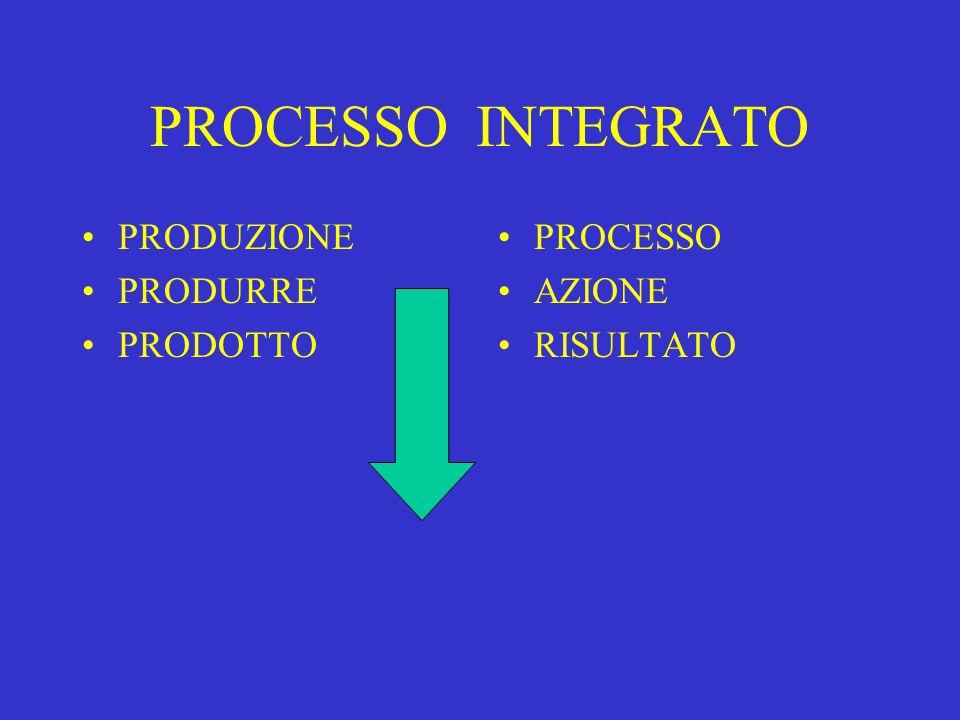PROCESSO INTEGRATO PRODUZIONE PRODURRE PRODOTTO PROCESSO AZIONE