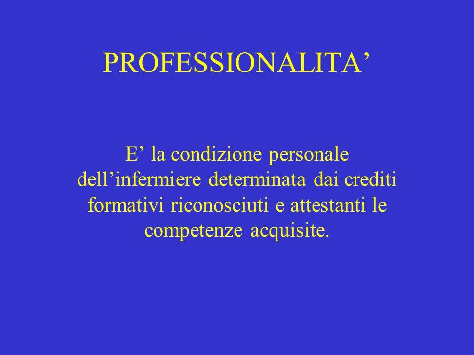 PROFESSIONALITA' E' la condizione personale dell'infermiere determinata dai crediti formativi riconosciuti e attestanti le competenze acquisite.