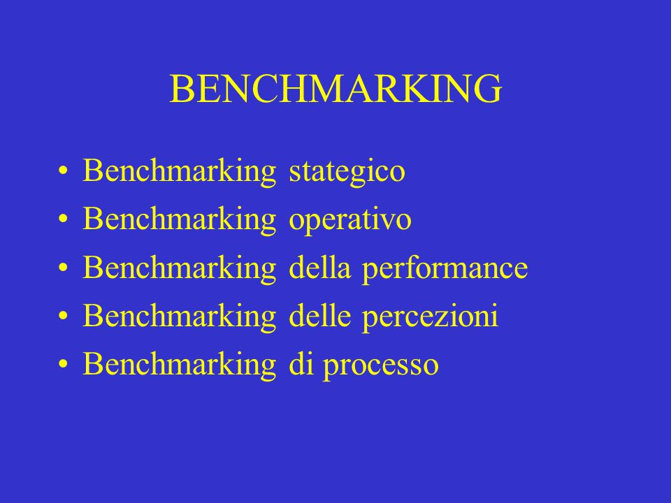 BENCHMARKING Benchmarking stategico Benchmarking operativo