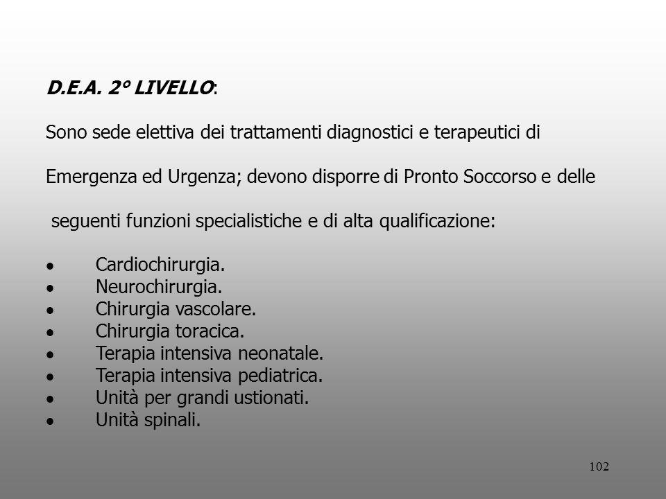 D.E.A. 2° LIVELLO: Sono sede elettiva dei trattamenti diagnostici e terapeutici di.