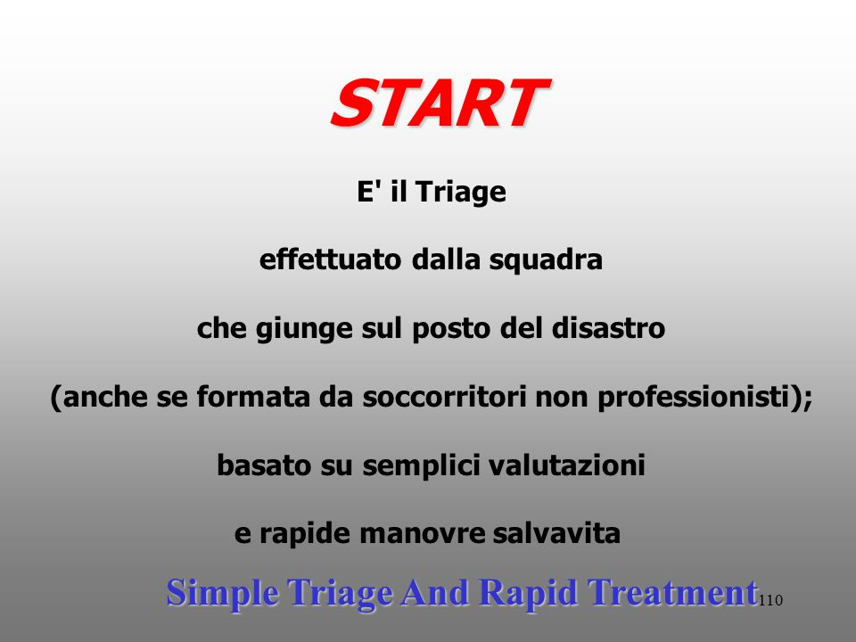 START Simple Triage And Rapid Treatment E il Triage