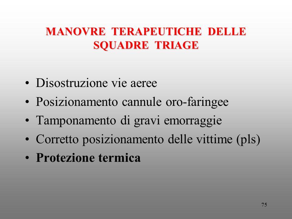 MANOVRE TERAPEUTICHE DELLE SQUADRE TRIAGE