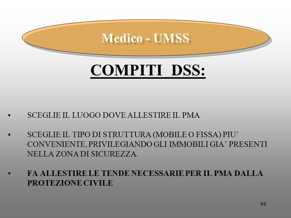 COMPITI DSS: Medico - UMSS SCEGLIE IL LUOGO DOVE ALLESTIRE IL PMA