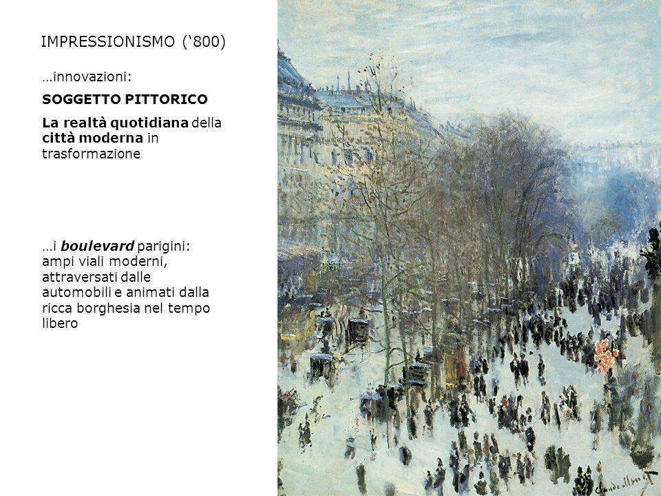 IMPRESSIONISMO ('800) …innovazioni: SOGGETTO PITTORICO