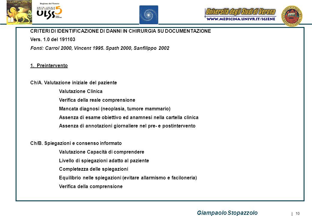 CRITERI DI IDENTIFICAZIONE DI DANNI IN CHIRURGIA SU DOCUMENTAZIONE